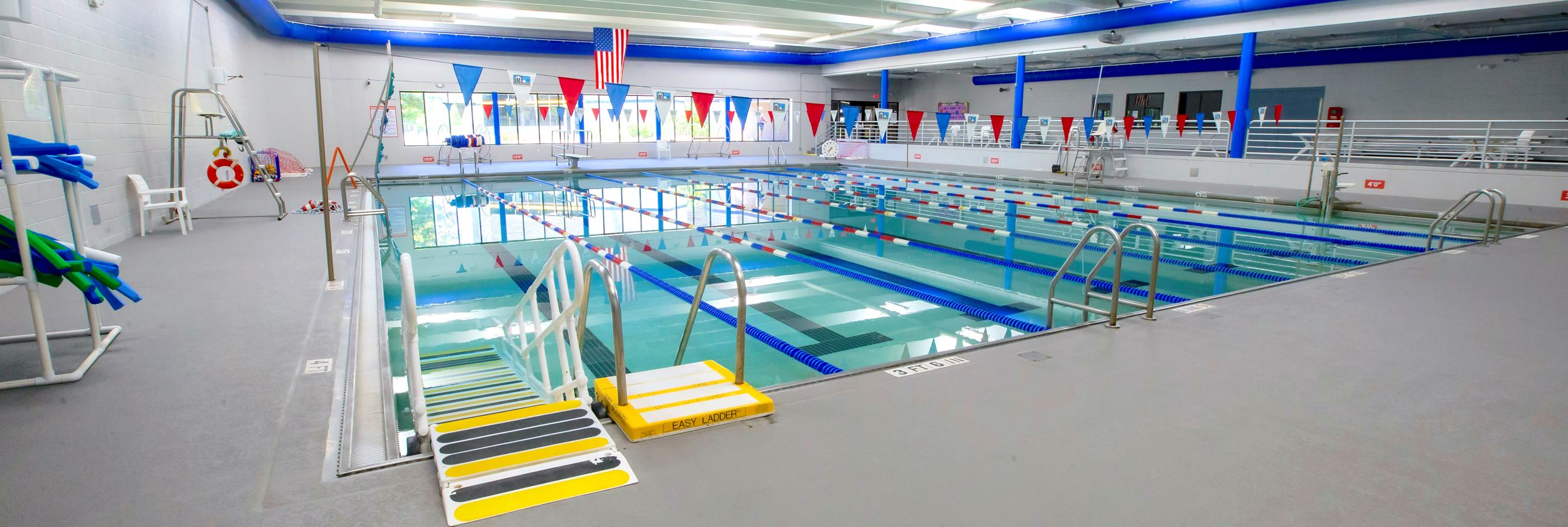 Indoor swimming pool with wheelchair ramp