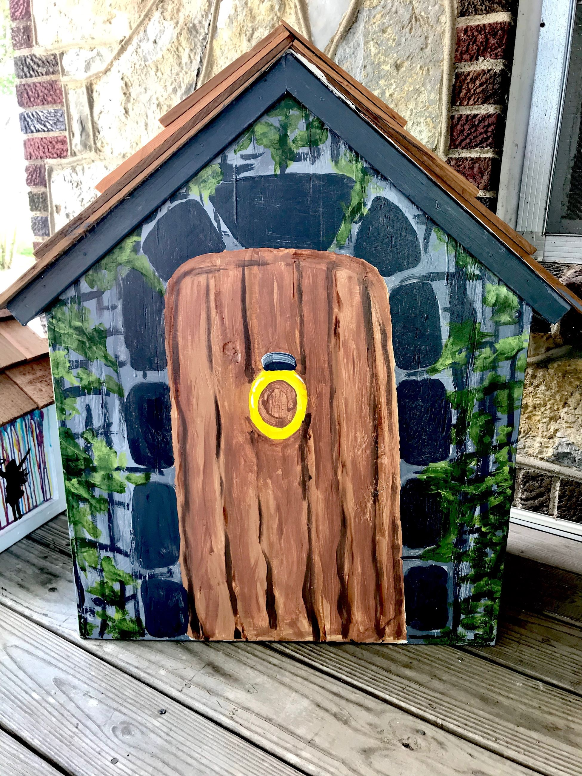 Back of Little Library painted by local student