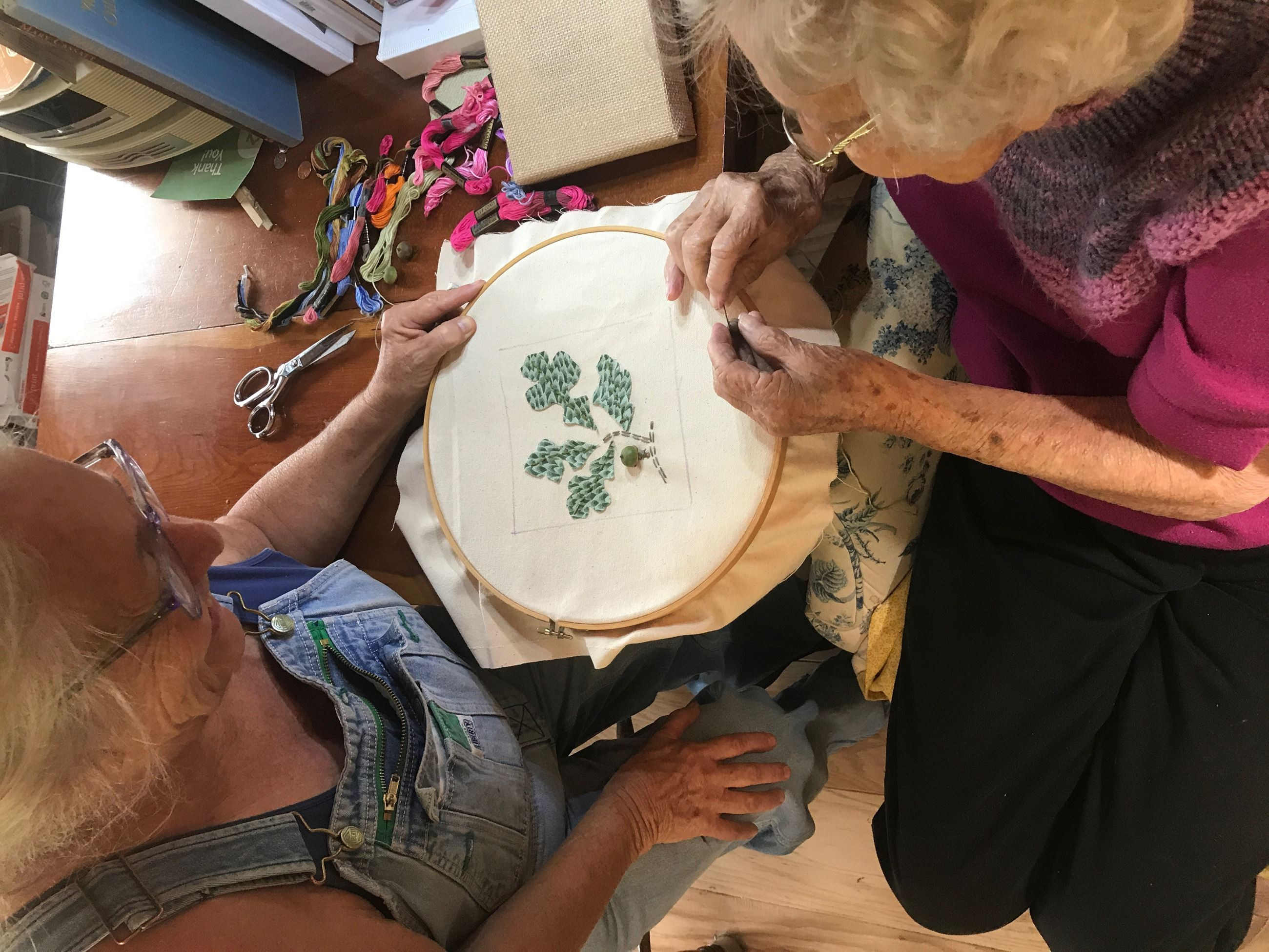 Margaret Norville working on  Post Oak embroidery piece
