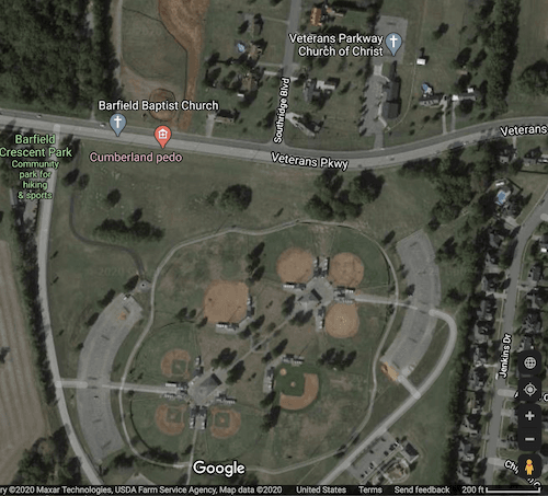 Barfield Crescent Park Trailhead-Google Map using satellite imagery