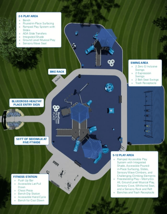 Layout of playground with swings, play area and exercise equipment