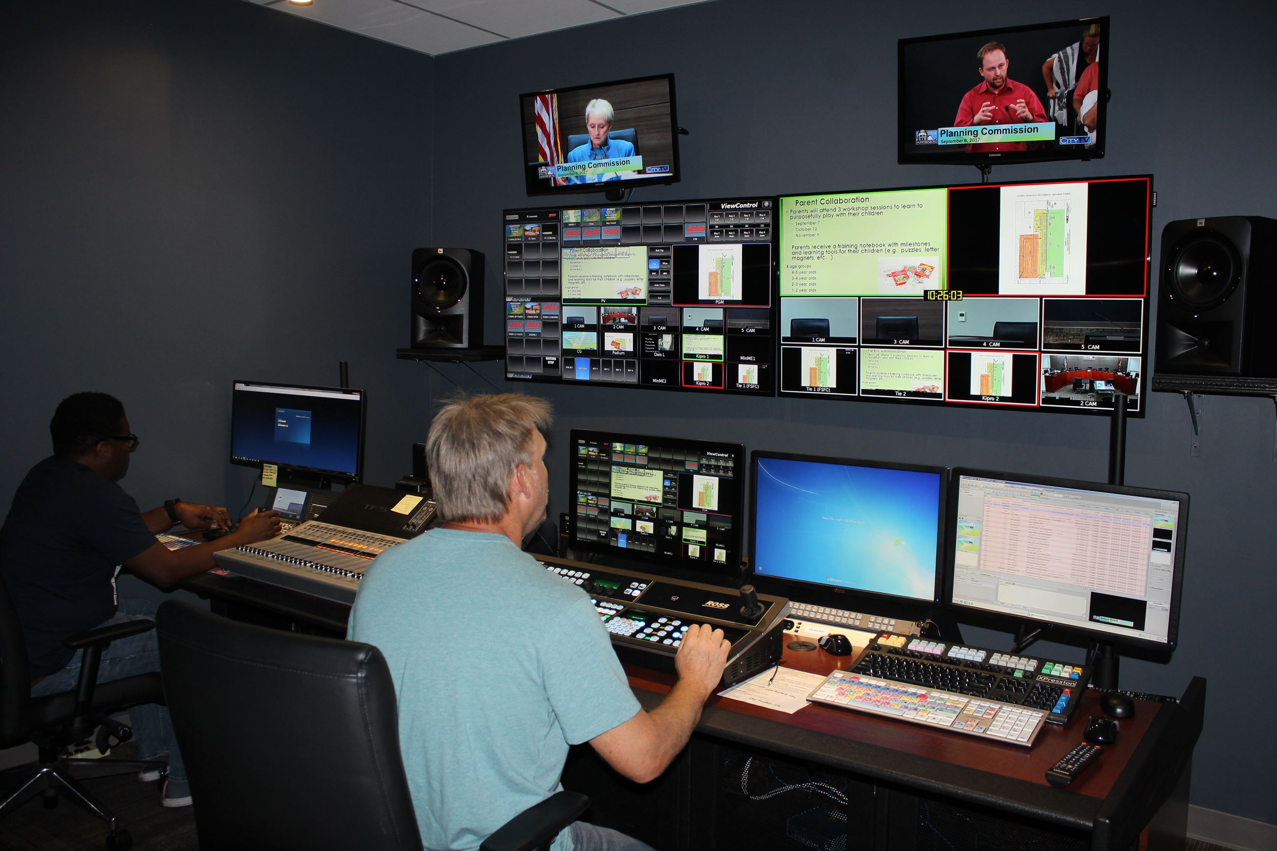 HD Upgrade with new Control Room LR Marcus Delaney, Steve Burris