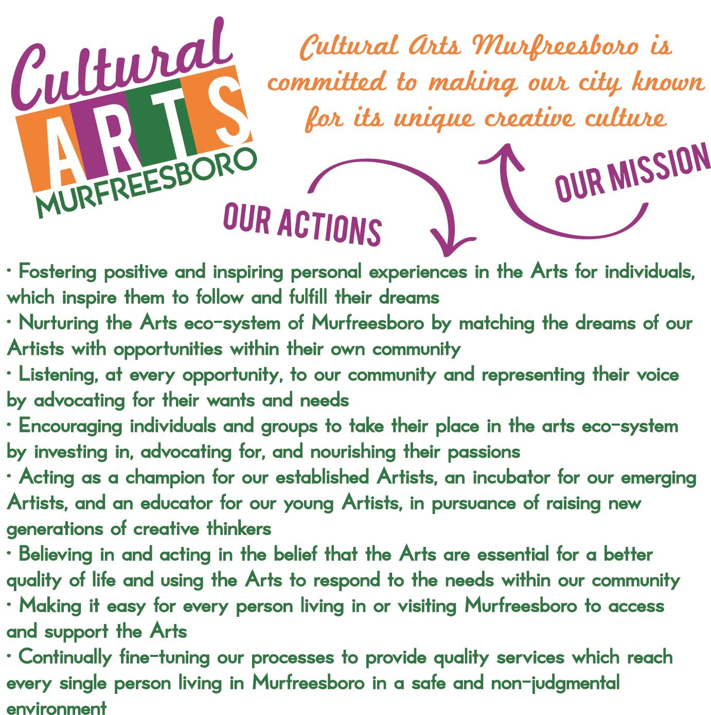 Cultural Arts Mission and Actions