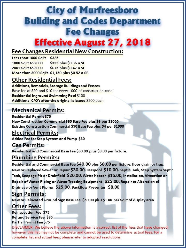 New Fees Effective August 27, 2018