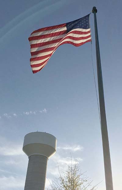 Reclaimed Water Tank and American flag