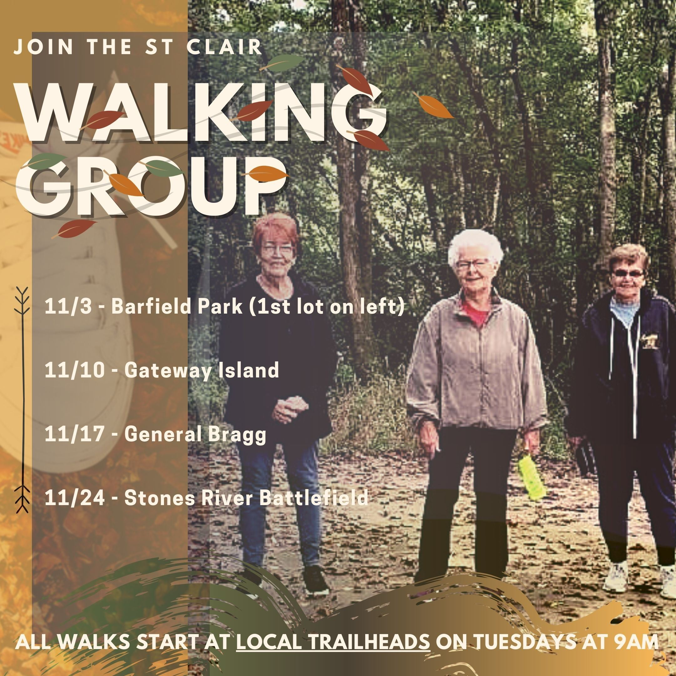 advertisement for st. clair walking group with dates locations and picture of seniors walking