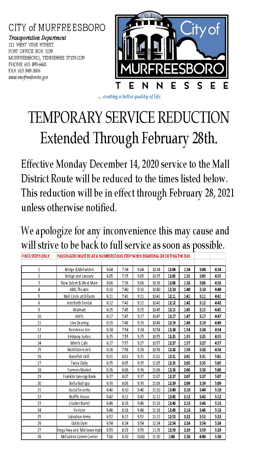 Temporary Service Reduction 01.20.2021