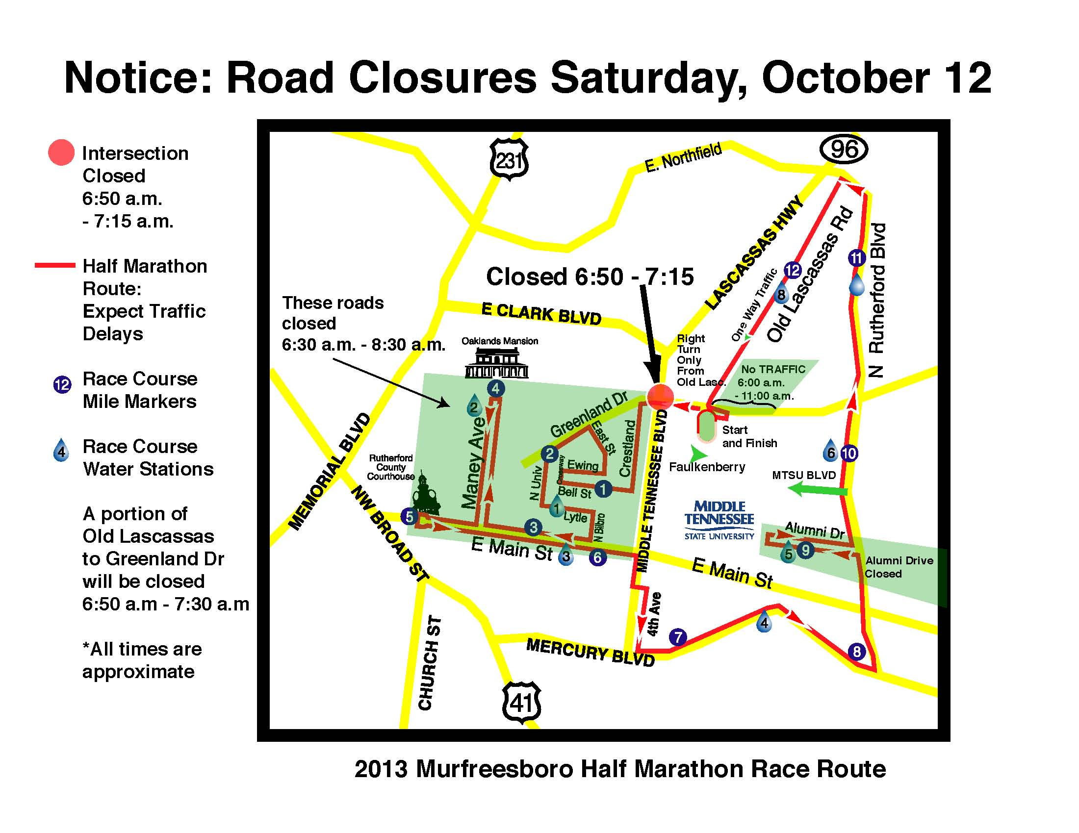 This map shows streets that will be closed during The Middle Half Oct. 12 beginning at 7 a.m.